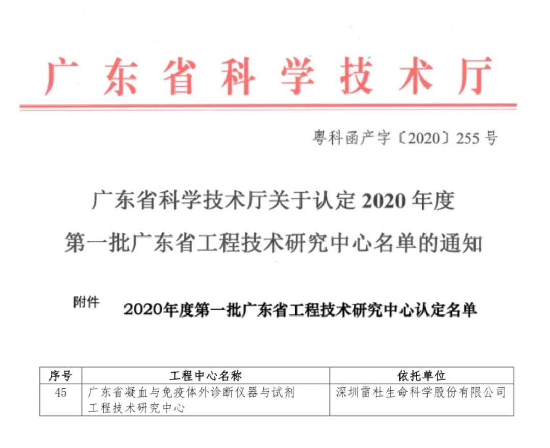 【喜讯】雷杜生命被认定为广东省工程技术研究中心!